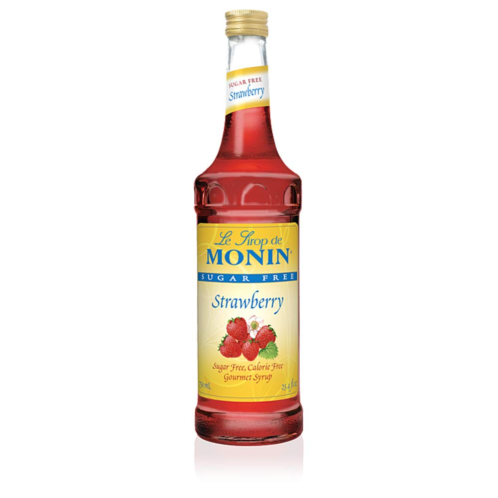 Monin - Sugar Free Strawberry Syrup, Mild and Sweet, Great for Cocktails, Sodas, and Smoothies, Non-GMO, (750 ml)