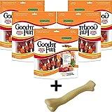 Cheap Good'n'Fun Triple Flavored Kabobs Rawhide Chews for Dogs (Rawhide Kabob, 12 oz- 18 Count, 5-Pack + Dog Toy)