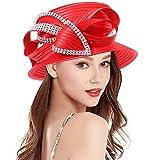 Original One Women's Kentucky Derby Tea Party Cloche Church Rhinestone Fancy Hats (Red-707)
