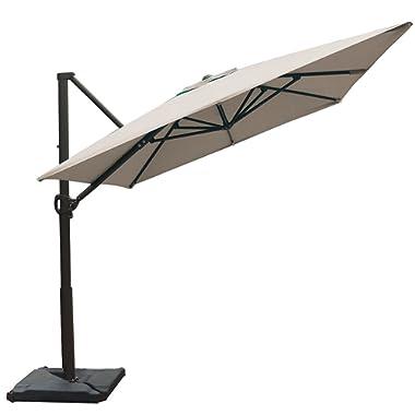 Abba Patio Rectangular Offset Cantilever Umbrella Outdoor Patio Hanging Umbrella Cross Base, 8 x 10- Feet, Sand