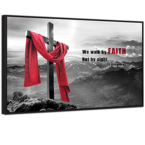 Visual Art Decor Modern Wall Art Wood Cross We Walk by Faith Not by Sight Bible Verse Inspirational Picture Canvas Prints Poster Decoration Home Office Artwork (28