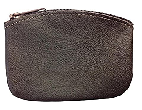 Classic Men's Large Coin Pouch Genuine Leather, Zippered Change Purse With Key Ring By Nabob, Brown