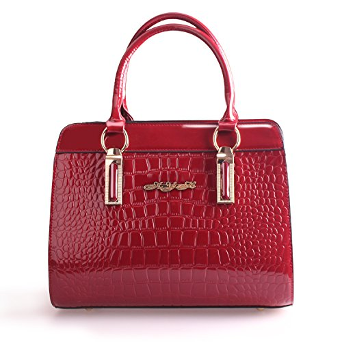XYH Crocodile pattern Pure Color Pu Leather Boutique Tote Bags Top Handle Handbag For (Purs And Handbag Patterns)
