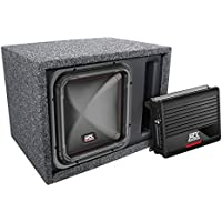 MTX Single 12 Square Subwoofer, Amplifier, and Enclosure Package w Wiring Kit - 500 Watts RMS