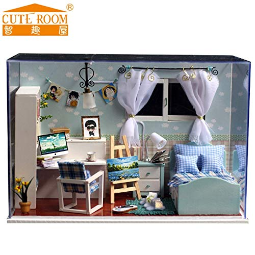 Kiartten Mini Size - Difficulty Lv2 - Rushed Home Decoration Crafts DIY Doll House Wooden Houses Miniature Dollhouse Furniture Kit Room Led Lights Gift T-005 1 Pcs