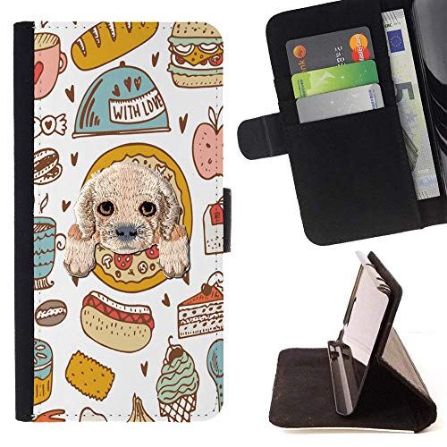 [ Cocker Spaniel ] Embroidered Cute Dog Puppy Leather Wallet Case for ZTE Zmax Pro [ Chef Food Pizza Pattern ]