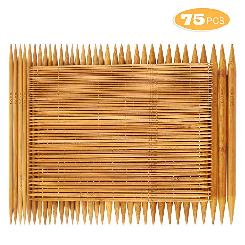 RELIAN Double Pointed Knitting Needles - 75 Pcs Bamboo Knitting Needles Set, 15 Sizes from 2.0mm-10.0mm, 8 Inches Length, Ideal for Handmade Creative DIY