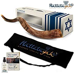 HalleluYAH Shofar Set - Half Polished 28...