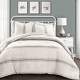 Lush Decor, Gray Comforter Farmhouse Stripe 3 Piece
