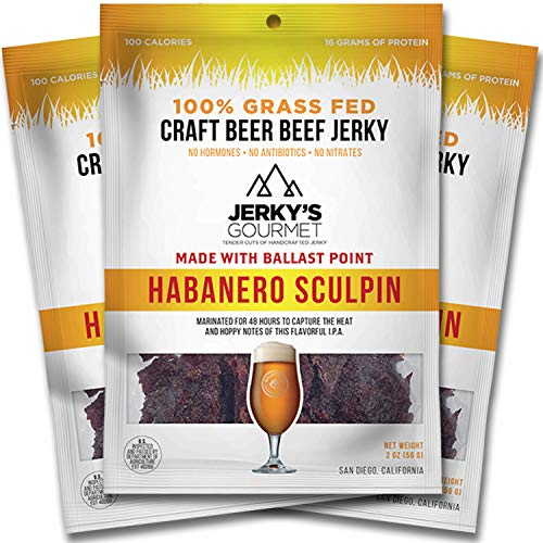 Habanero Sculpin Craft Beer Grass Fed Beef Jerky - 100 Calorie Snacks, Gourmet, Healthy Low Carb, High Protein - Keto Friendly (3 Packs)