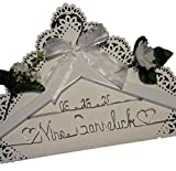 Bride Wedding Dress Hanger - White or Dark Hanger With Notches in the Hanger - Choice of 12 Bow Colors - Personalized Bride Name Silver Writing - With or Without Wedding Date, Bride Bridesmaid Gift
