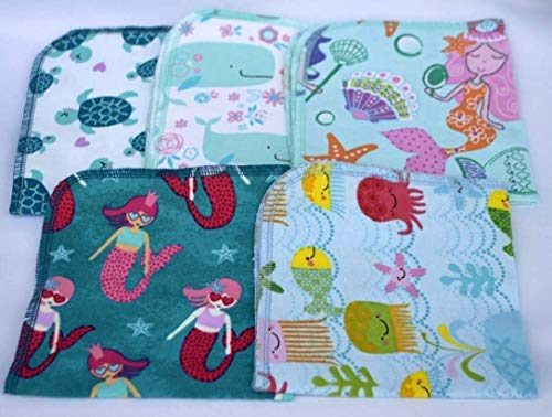 1 Ply 12x12 Inches Set of 5 Printed Flannel Paperless Towels Mermaids and Friends ()