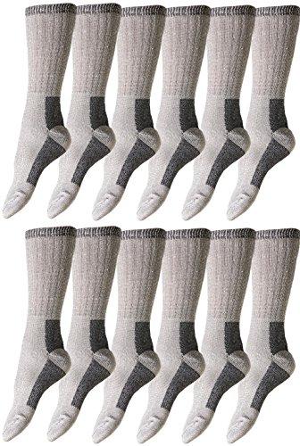Bulk Pack Merino Wool Socks for Kids, Boys Girls, 68% Wool for Hiking, Camping, Winter Childrens (12 Pairs Gray, 6-8 (Shoe Size 4-7))
