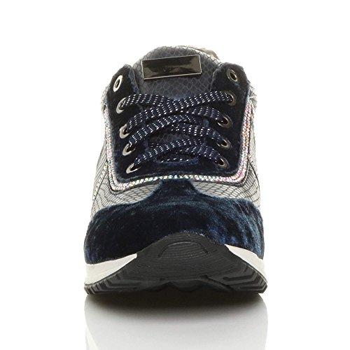 Ajvani Womens Ladies Low Wedge Heel Lace up Velvet Diamante Trainers Sneakers Size Navy 4j7kh1iH