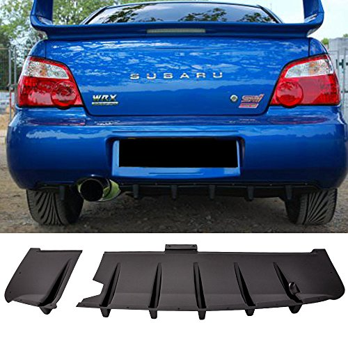(Rear Bumper Lip Diffuser Fits 2002-2003 Subaru Impreza | HT Style Black ABS Add on Aftermarket Replacement Parts Rear Splitter by IKON MOTORSPORTS)