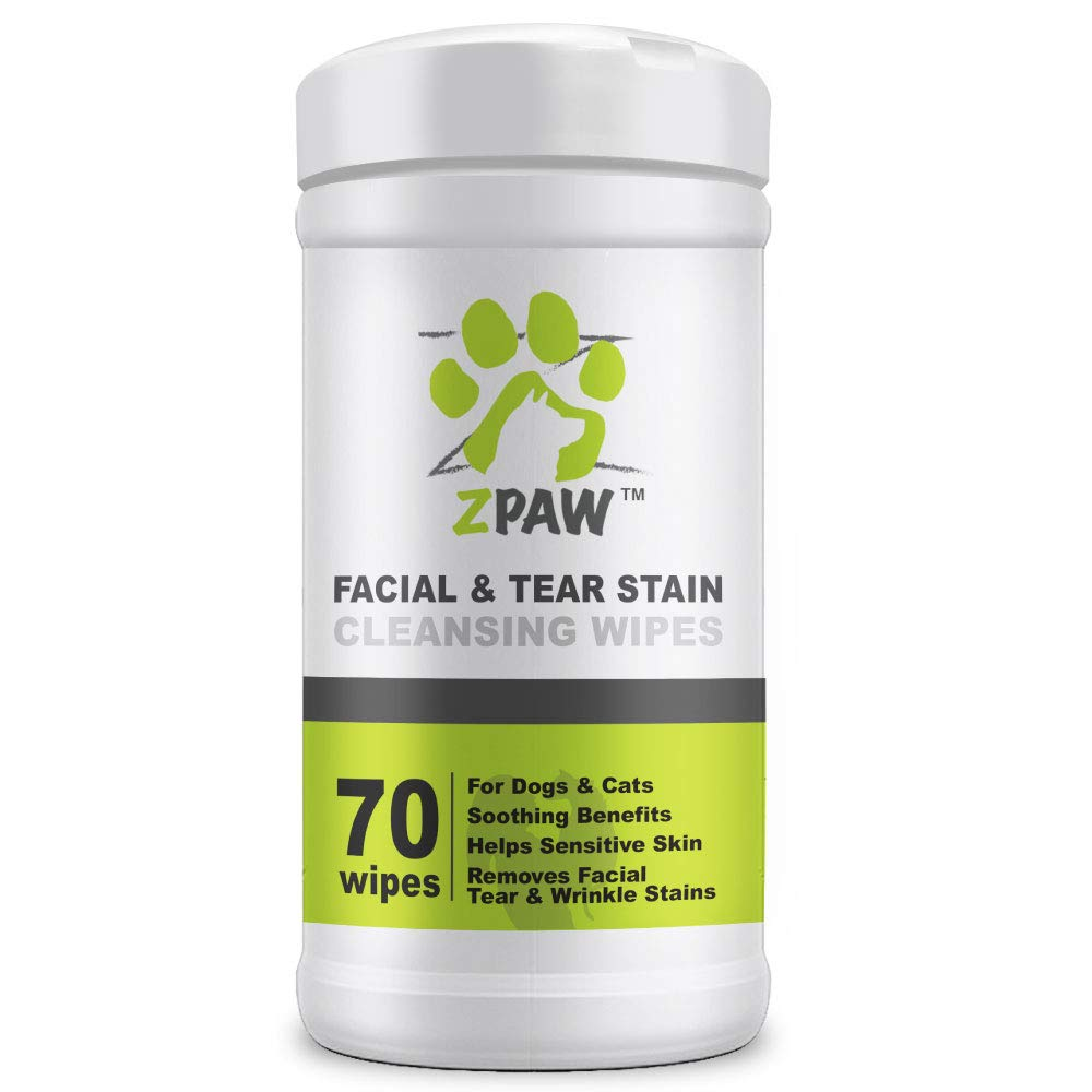 ZPAW Facial Wrinkle Eye and Tear Stain Wipes for Dogs and Cats   Extra Soft Wipes with Mild Fragrance-Free Formula That Removes Eye Discharge and Reduce Tear and Saliva Stains (70 Wipes) by ZPAW