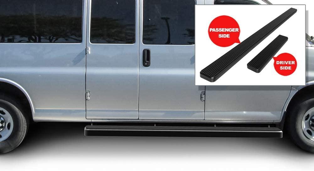 Black Powder Coated 6 inches APS iBoard Running Boards Nerf Bars Side Steps Step Rails Compatible with 2003-2020 Chevy Express GMC Savana 1500 2500 3500 Full Size Van