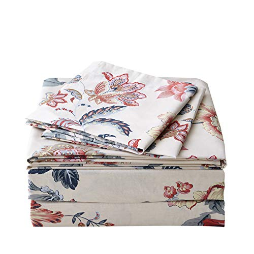 (FADFAY Sheet Set King Farmhouse Bedding Vintage Peony Shabby Floral Bedding 100% Cotton Super Soft Hypoallergenic Yellow and Gray Deep Pocket Fitted Sheet 4-Pieces King Size)
