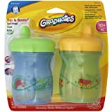 Gerber Graduates BPA Free 2 Pack Sip and Smile Spill Proof Cup, 7 Ounce, Blue/Green