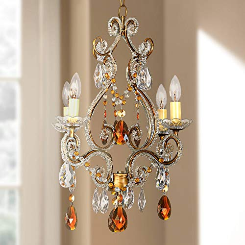 Leila Amber Gold Finish Swag Plug-in Chandelier - Regency Hill