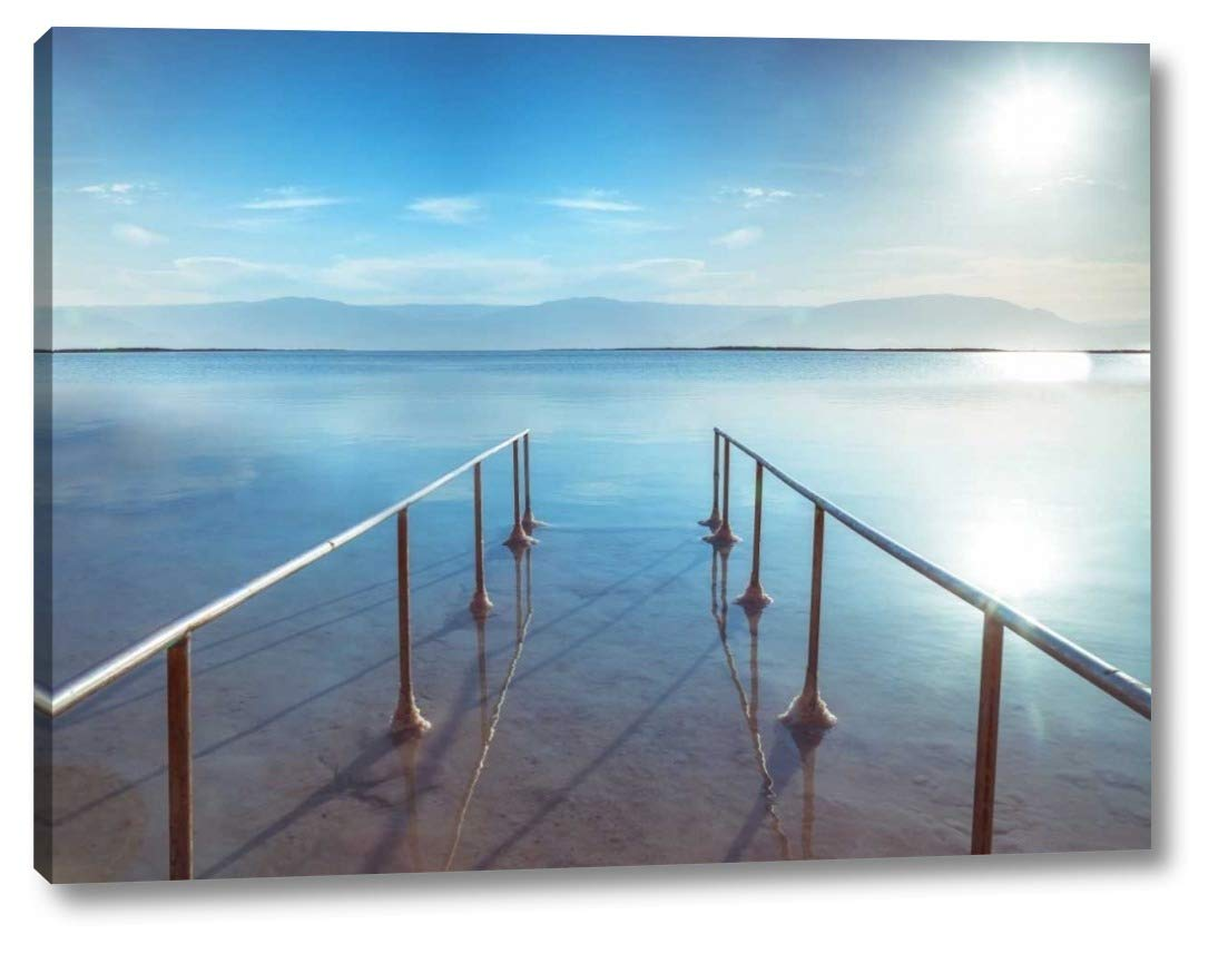 Peir on Dead Sea, Israel by Assaf Frank - 14'' x 19'' Gallery Wrapped Giclee Canvas Print - Ready to Hang by Canvas Art USA