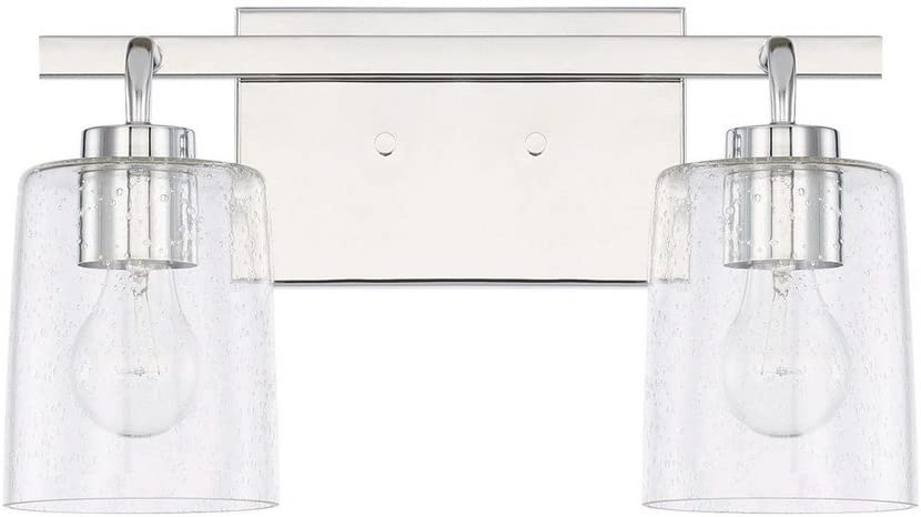 Capital Lighting 128521CH-449 Homeplace Greyson – Two Light Bath Vanity, Chrome Finish with Clear Seeded Glass
