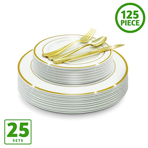 EcoEarth Gold Plastic Plates & Cutlery Combo Set (125 Pieces Set), Disposable Plastic Dinnerware Set Includes 25 Dinner Plates, 25 Dessert Plates, 25 Forks, 25 Knives, 25 Spoons (Gold Rim) -