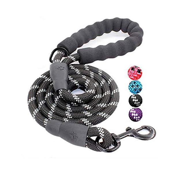 Litthing-Correa-para-el-Perro-Nylon-Ajustable-Negro-solido-Reflectante-150-cm-para-Perros-Grandes-o-medianos-Adecuado-para-Correr-Senderismo-Correr-Negro