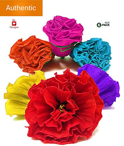 Alondra's Imports Uniquely Handcrafted, Festive Mexican Paper Flowers (Party Decorations, Paper Flowers for Decoration, Flor De Papel para Decoracion) Unique Assorted (6 Pack)