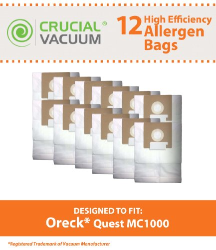12 Allergen Filtration Vacuum Bags for Oreck Quest MC1000 Canister Vacuums; Compare to Oreck Part No. PK12MC1000; Designed & Engineered by Think Crucial
