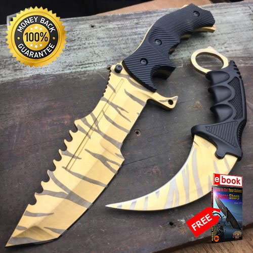 2 PC COUNTER-STRIKE CSGO GOLD TIGER HUNTSMAN KNIFE Hunting KARAMBIT CS:GO NEW For Hunting Tactical Camping Cosplay + eBOOK by MOON -