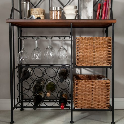 Metal Bakers Rack with Wine Storage, Wine Glass Storage and 2 Pull-out Storage Baskets by Belham Living (Image #5)