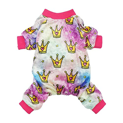 Fitwarm Pet Clothes for Dog Pajamas PJS Cat Jumpsuits Apparel Princess Crowns Pink Medium