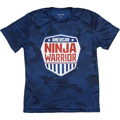 American Ninja Warrior Kids Camo Short Sleeve Performance T-Shirt (Small, Blue)