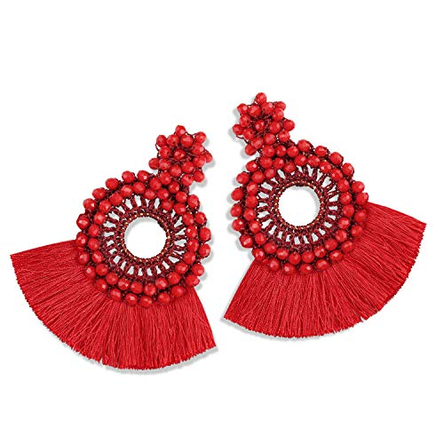 Red Resin Earrings - Statement Tassel Bead Earrings for Women, Drop Dangle Round Beaded Hoop Fringe Bohemian Earrings Women Girl Novelty Fashion Summer Accessories - E4 Wine Red