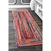"""nuLOOM Hand Braided Bohemian Colorful Cotton Runner Rug, Multi, 2 6"""" x 8"""