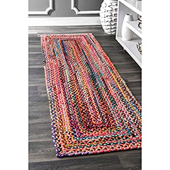 "nuLOOM Hand Braided Bohemian Colorful Cotton Runner Rug, Multi, 2 6"" x 8"
