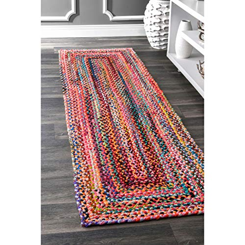 nuLOOM Hand Braided Bohemian Colorful Cotton Runner Rug, Multi, 2' 6