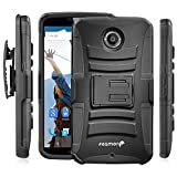Fosmon® Google Nexus 6 (STURDY Series) Heavy Duty Dual Layer Hybrid Holster Case with Kickstand and Belt Clip for Motorola Nexus 6 - Fosmon Retail Packaging (Black)
