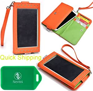 WALLET/ SMART PHONE HOLDER WITH XPOSED FRONT WINDOW- BONUS WRISTLET STRAP INCLUDED- ORANGE/GREEN- FOR LG Optimus LTE Tag