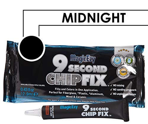 Jet Coat - MagicEzy 9 Second Chip Fix (Midnight Black) - Fills And Colors Fiberglass Damage - Gelcoat Repair