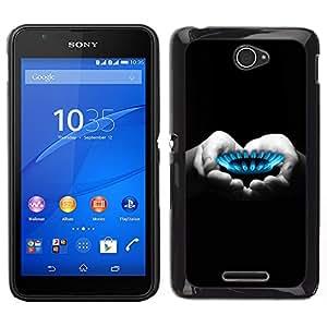 iKiki Tech / Estuche rígido - Manos del corazón Negro Blanco Profundo - Sony Xperia E4