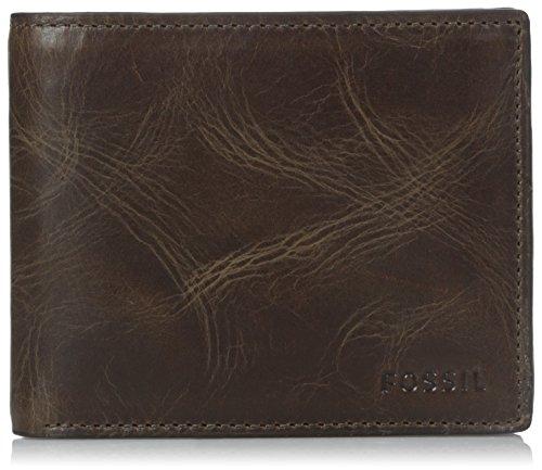 Fossil Men's RFID Blocking Derrick Bifold Wallet with Flip Id, Dark Brown, One Size