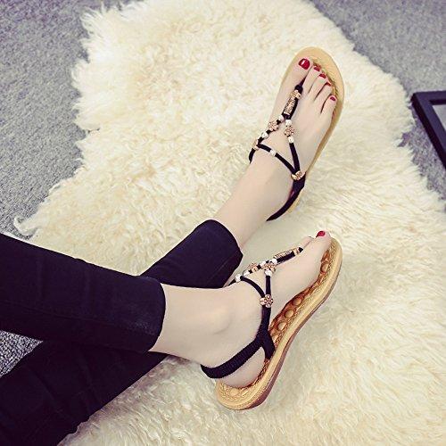 2018 Sommer neue Student koreanische Version der flachen Boden Flip-Flops Mode wilden rutschfesten Sandalen weibliche flache weiche Sperrholz Sandalen Turnschuhe - 6 Modelle optional ( Color : Beige , Black - Beaded