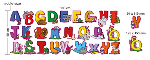 Educational Wall Sticker Animal Alphabet Art Letters - Set of 26 ABC Letter Decals to Decorate The Walls in Nursery or Kids Rooms - Attractive Funny Learning Tool for Creative - Dark Diy Keyboard In The Glow