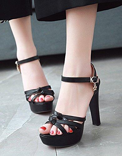 Sexy Sandales Aisun Femme Plateforme Princesse Ouvert Mariage Chunky Bout Strass Noir qBZBnxzr5R