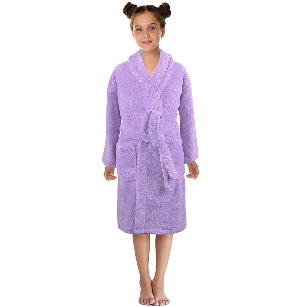 Kids Family Flannel Bathrobes, Toddler Boys Girls Night-Gown Pajamas Sleepwear Winter Plush Robes Shawl Thicken Home Clothes Coat (S, Purple)