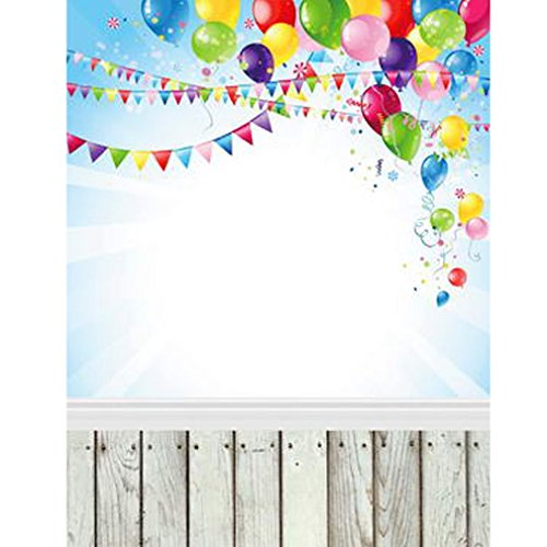 Party Backdrop Colorful Balloons Pennant Happy Birthday Baby Blue Photography Backgrounds Wood Flooring Booth Studio Picture Wall Prop 274 -