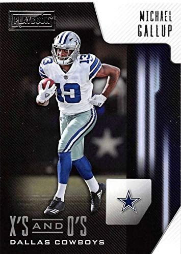 2018 Playbook Xs and Os Football #30 Michael Gallup Dallas Cowboys Official NFL Rookie Insert Card Made by Panini
