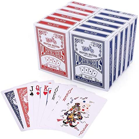 LotFancy Playing Cards, Poker Size Standard Index, 12 Decks of Cards (6 Blue and six Red), for Blackjack, Euchre, Canasta, Pinochle Card Game, Casino Grade